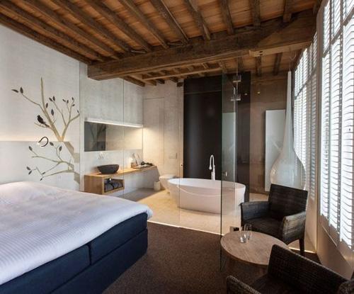 Salle de bain et chambre séparées par une paroi vitrée
