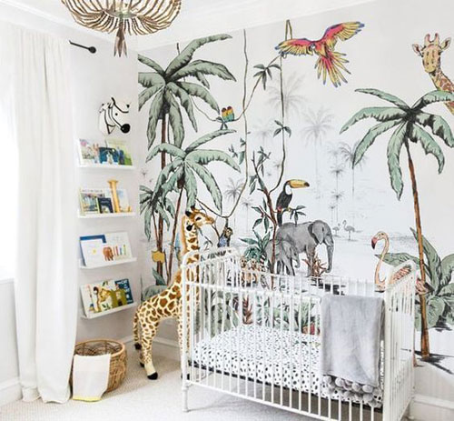 Papier peint jungle chambre bébé