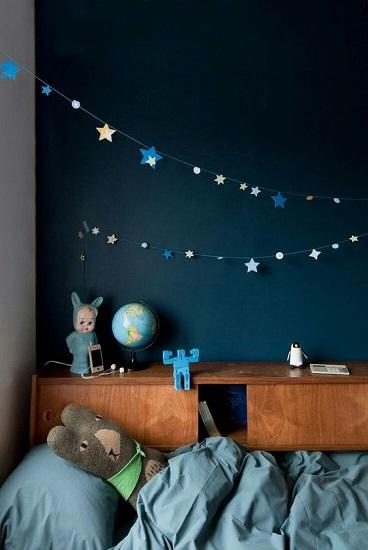 Chambre d'enfant bleue canard