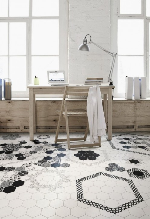 Id es d co avec des motifs carreaux de ciment habitatpresto for Carrelage hexagonal parquet