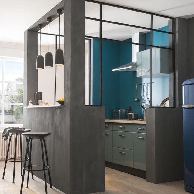 Petite cuisine avec bar plan du0027une petite cuisine for Ou trouver meuble salle de bain pas cher