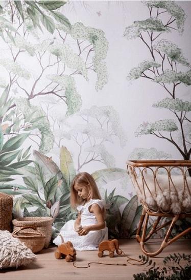 Papier peint jungle intissé chambre d'enfant