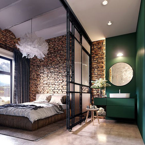 Chambre parentale esprit loft 5 id es de d co industrielle - Chambre style loft industriel ...
