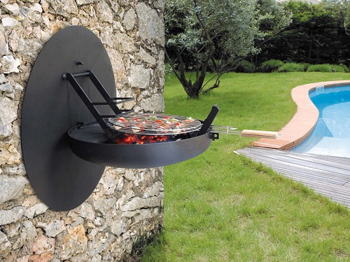 Barbecue design à fixer au mur