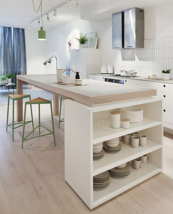 Quel est le prix d 39 un lot central de cuisine - Table haute avec rangement pour cuisine ...