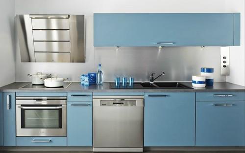 Couleur meuble cuisine decoration petite cuisine avec for Cuisine amenagee bleue
