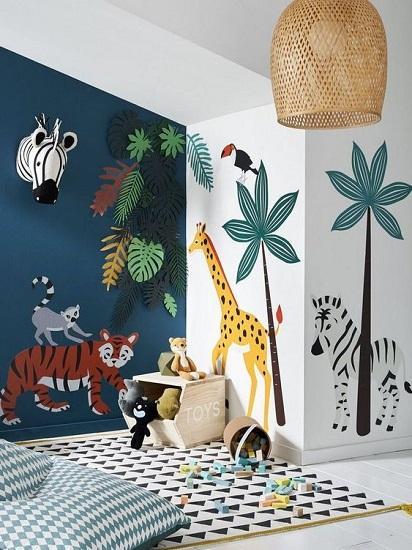 Stickers muraux animaux chambre d'enfant