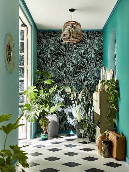 Entrée appartement déco jungle