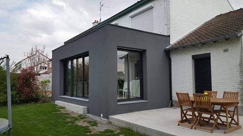 Extension maison béton toit plat