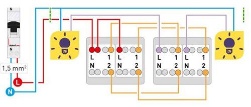Schéma d'un circuit d'interrupteur double à double va-et-vient
