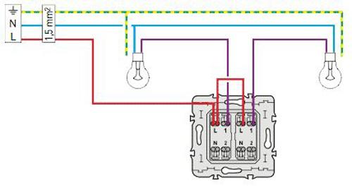 Schéma d'un circuit d'interrupteur double