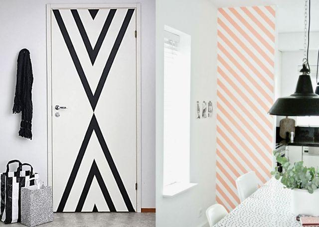 inspiration d co murale masking tape habitatpresto. Black Bedroom Furniture Sets. Home Design Ideas
