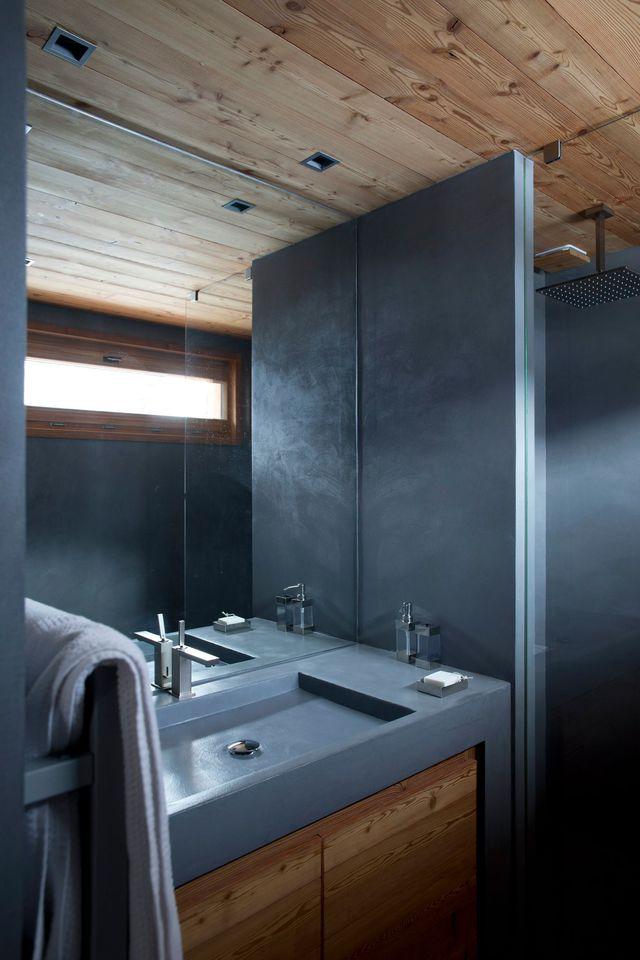 awesome salle de bain beton cire bleu contemporary awesome interior home satellite. Black Bedroom Furniture Sets. Home Design Ideas