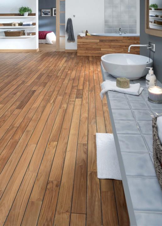 tendance bois pour la salle de bain | habitatpresto - Salle De Bain Sol Teck