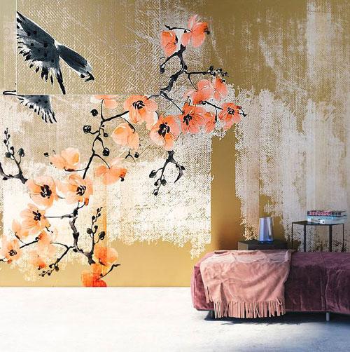Papier peint fleurs cerisiers