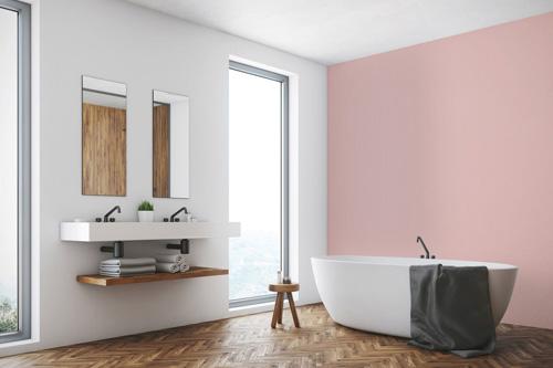 Salle de bains avec mur rose