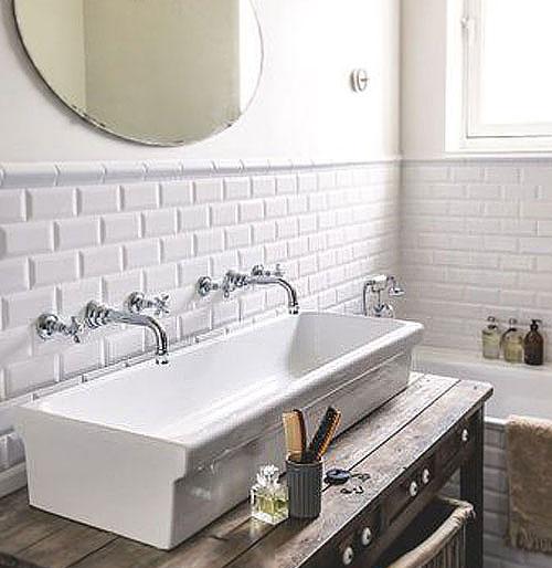 Peinture blanche carrelage salle de bains