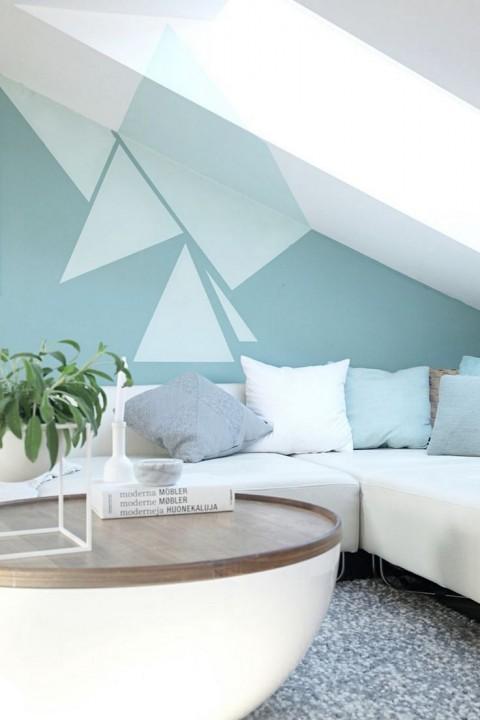 Inspiration peinture murale g om trique - Zweifarbige wandgestaltung ...