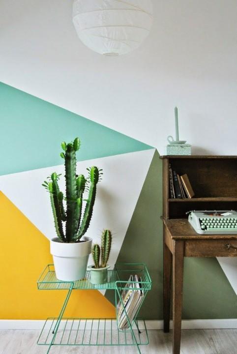 Inspiration peinture murale g om trique habitatpresto for Peindre deux couleurs sur un mur