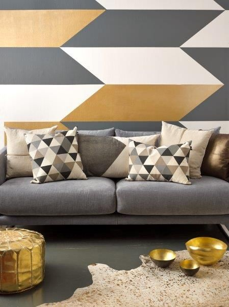 inspiration peinture murale g om trique. Black Bedroom Furniture Sets. Home Design Ideas