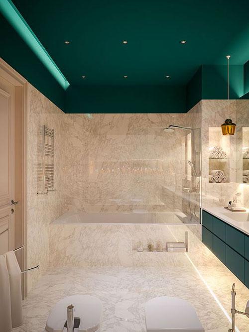 peindre en vert le plafond de sa salle de bain cest original mais on adore peinture_plafondsdb_vert - Plafond De Salle De Bain