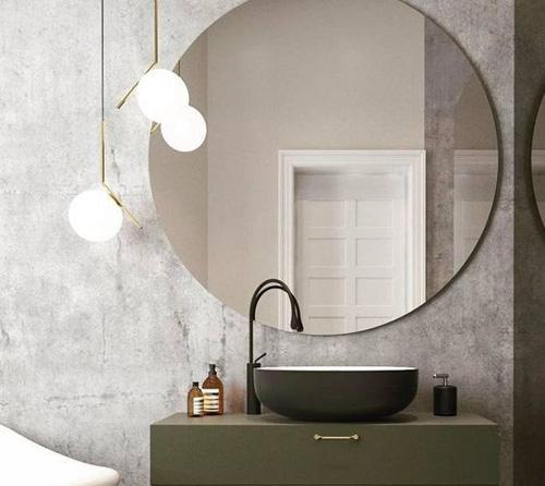 Miroir et lampe ronds