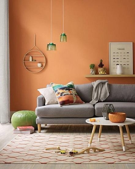 Salon orange pâle