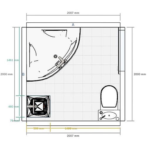 plan dune salle de bain de 4 m avec baignoire dangle meuble simple et toilettes