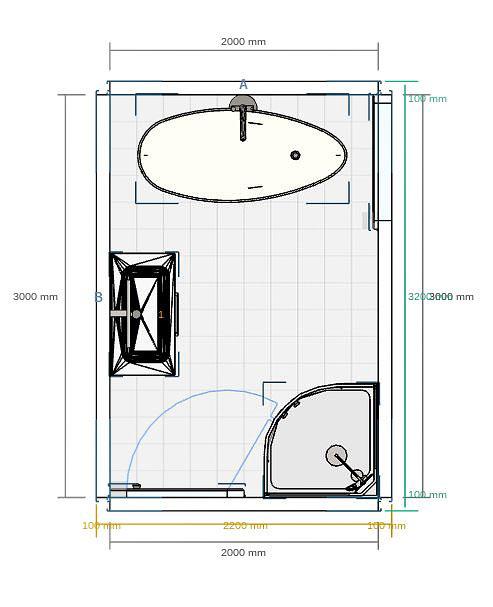 plan dune salle de bain de 6m avec baignoire douche dangle et meuble vasque