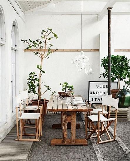 Terrasse chaises de tournage