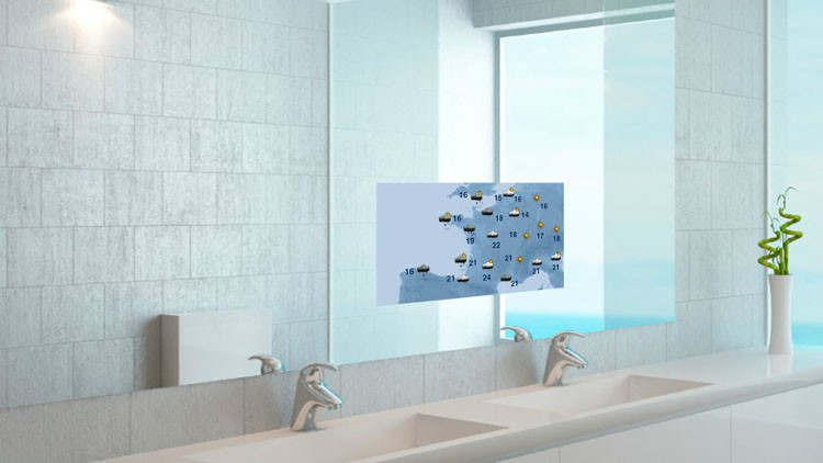 Salle de bain connect e 7 innovations qui changent la for Tv miroir salle de bain