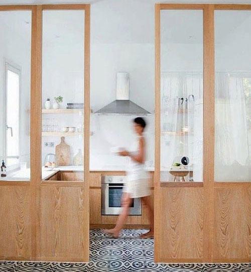 verrière en bois cuisine