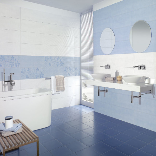 Awesome idee deco salle de bain bleu et blanc 2 images for Robinetterie salle de bain retro