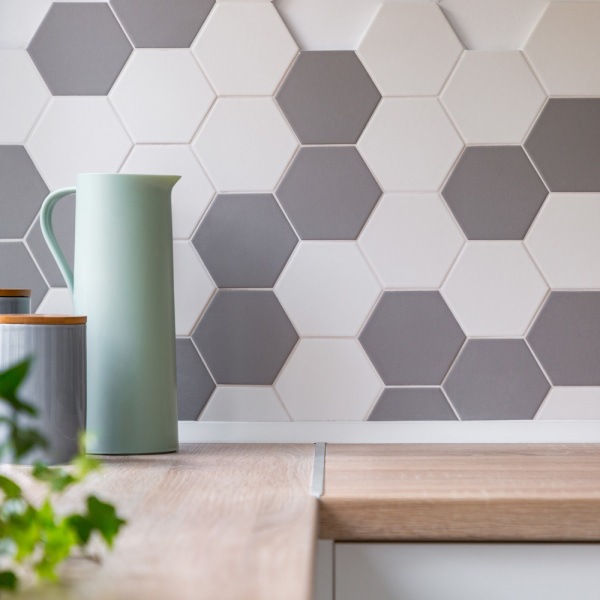 Carrelage mural hexagonal